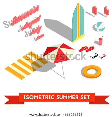 set of isometric summer