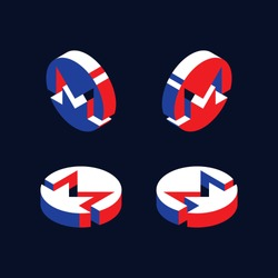set of isometric symbols of monero cryptocurrency. abstract trend retro symbols or signs in geometric 3D shape style with red, blue and white colors. eps 10