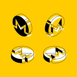 set of isometric symbols of monero cryptocurrency on yellow background. abstract trend retro symbols or signs in geometric 3D shape style on yellow background. eps 10
