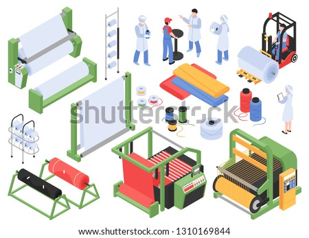 Set of isometric textile factory production isolated images with industrial machinery storage facilities and personnel characters vector illustration