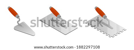 Set of isometric vector illustrations bricklayer and stucco trowels isolated on white background. Cement trowel, plastering trowel colorful vector icons in flat cartoon style. Construction tool. Stockfoto ©