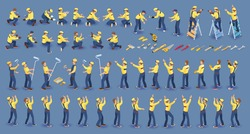 Set of isometric Workers. Repairers in overall, various poses, standing, working. Builder Isolated on blue. Collection with construction workers team. Masters, tools. Vector flat 3D isometric set.