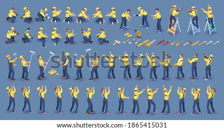 Set of isometric Workers. Repairers in overall, various poses, standing, working. Builder Isolated on blue. Collection with construction workers team. Masters, tools. Vector flat 3D isometric set. ストックフォト ©