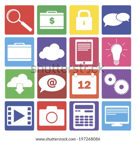 set of 16 it and web icons