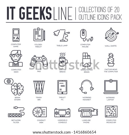 Set of IT geeks, gadgets, devices thin line icons on white background. Programmer, gambler suppliers outline pictograms collection. Computer whiz vector element for infographic, web.