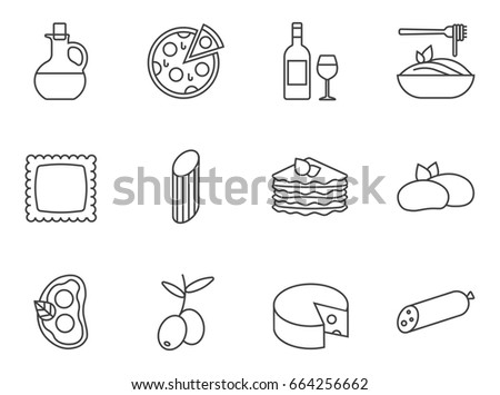 Set of Italian food, cuisine line icons.