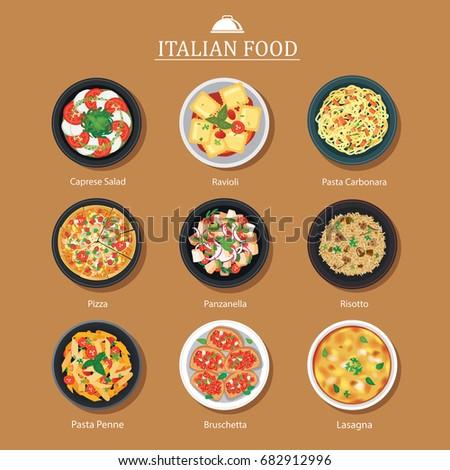 Stock Photo Set of italian food flat design. Vector illustration background.
