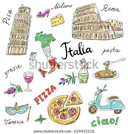 Vector Images, Illustrations and Cliparts: Set of Italy symbols ...