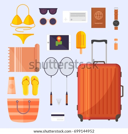 Set of items for the trip. Luggage for travel and leisure. Summer vacation planning.