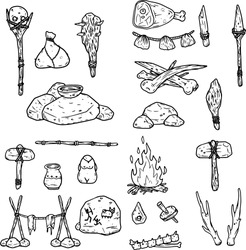 Set of items of primitive man and hunter. Weapons of caveman. Stone age hammer, axe and club, spear and animal bone. Lifestyle and tool. Cartoon illustration