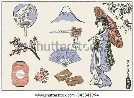 set of japan design elements
