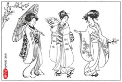 Set of Japan design elements. Geisha Woman / Japanese girls Illustration. Hand drawn vector illustration.