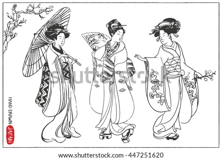 stock-vector-set-of-japan-design-elements-geisha-woman-japanese-girls-illustration-hand-drawn-vector