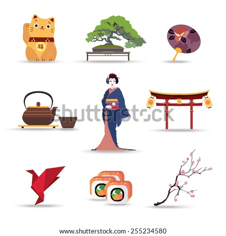 set of japan isolated travel