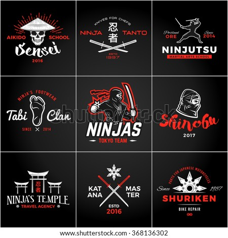 set of japan ninjas logo