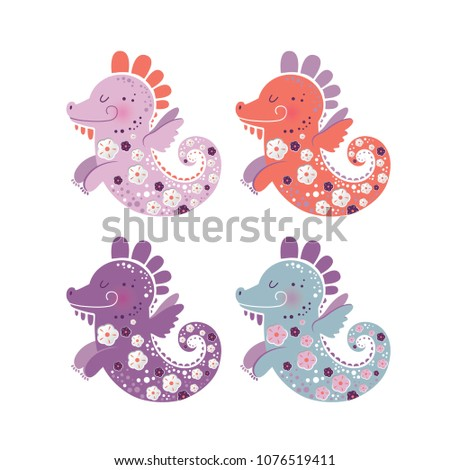 set of japanese dragon for