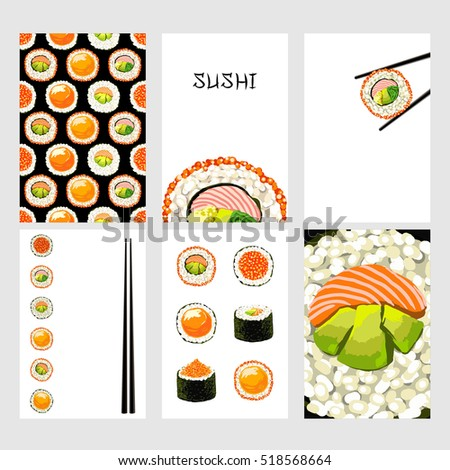 Set of Japanese food cards. Set of sushi on white background. Seamless pattern, card, poster, background. Template for design.