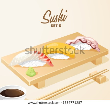 Japanese sushi set on plate - Download Free Vector Art, Stock