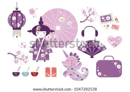 set of japanese girl  kokeshi