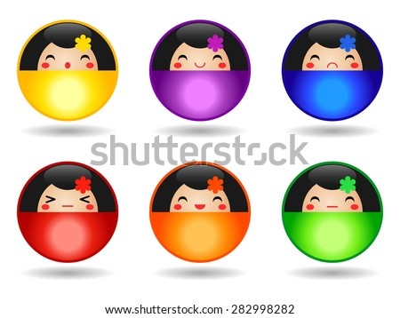 Set of Japanese Kokeshi Dolls round buttons