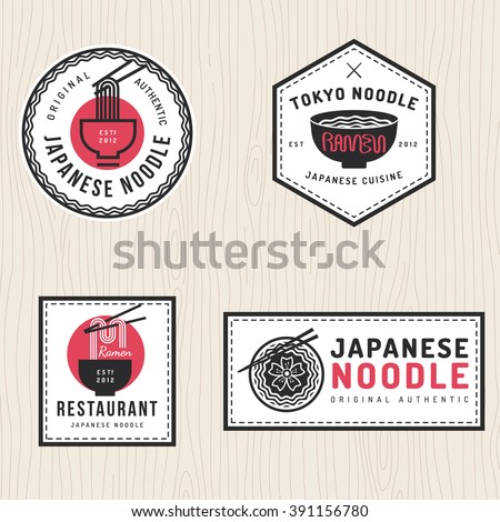 set of japanese noodles logo