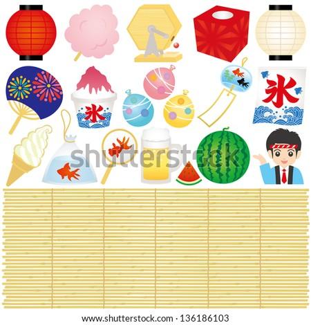set of japanese summer festival