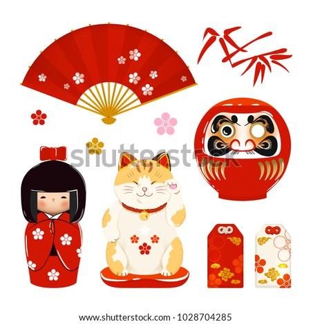 set of japanese symbols  daruma