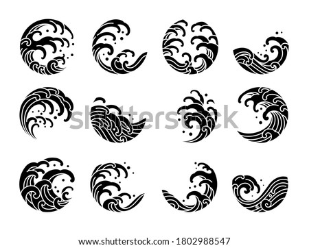 Set of Japanese water wave tattoo oriental silhouette style vector illustration.