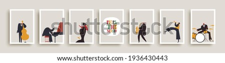 Set of jazz band people playing diverse music instruments and singer. Musical poster illustration collection. Includes drum, saxophone, trumpet, piano player Сток-фото ©