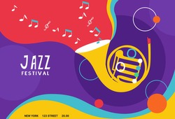 Set of jazz festival poster or banner. Vector composition included  French horn. Suitable for acoustic music events and jazz.