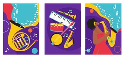 Set of jazz festival posters. Compositions included saxophone, trombone, clarinet, violin, double bass, piano, trumpet, bass drum and banjo, guitar. Suitable for acoustic music events and jazz concert