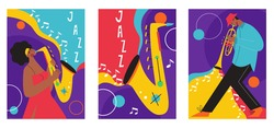 Set of jazz festival posters. Vector compositions included: saxophone, trombone, clarinet, violin, double bass, piano, trumpet, bass drum and banjo, guitar. Suitable for music events and jazz concerts