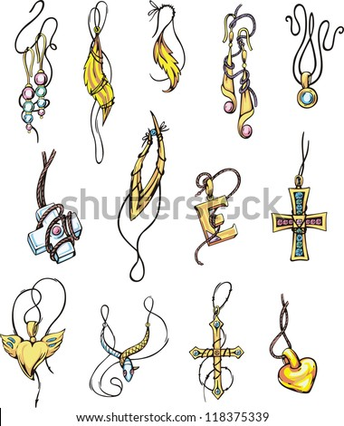 set of jewelry color vector