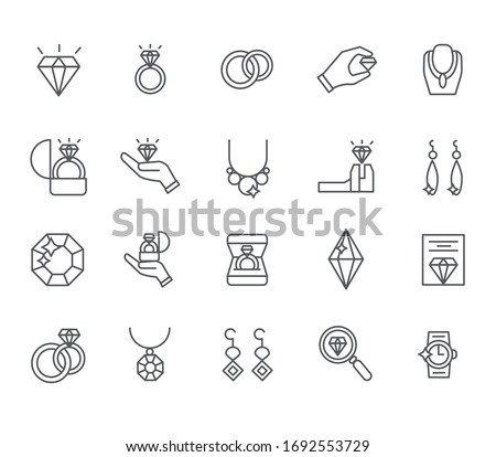 Set of jewelry Related Vector Line Icons. Includes such Icons as ring, bracelet, earrings, diamond, necklace and more. stock photo