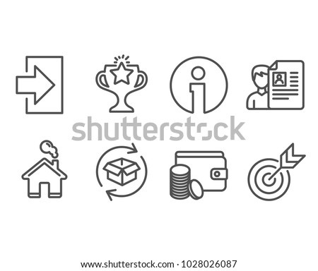 Set of Job interview, Return parcel and Login icons. Payment method, Victory and Target signs. Cv file, Exchange of goods, Sign in. Wallet with coins, Championship prize, Targeting. Vector