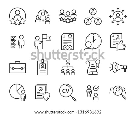 set of job seach icons ,such as work, career, traning, business, skill, meeting #1316931692