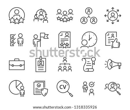 set of job seach icons ,such as work, career, traning, business, skill, meeting #1318335926