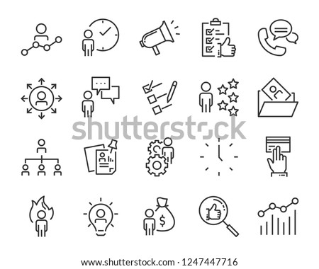 set of job search icons ,such as work, career, traning, business, skill, meeting