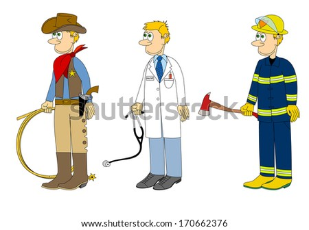 Set of jobs, occupations, professions - cowboy, doctor, fireman, cartoon, comic design, hand drawn, isolated on white background vector art image illustration eps10