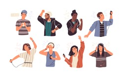 Set of joyful people wearing earphones and headphones, listening to music and dancing. Bundle of happy boys and girls using audio player isolated on white background. Flat cartoon vector illustration.