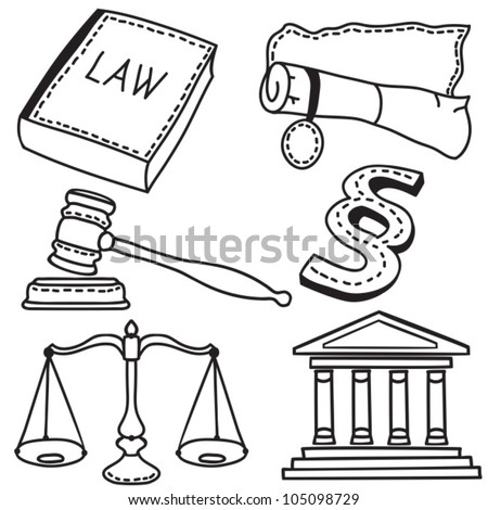 Set of judicial icons isolated on white background - hand-drawn illustration
