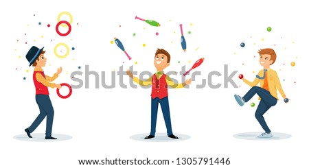 Set of jugglers perform a circus trick. Artist jugging rings,maces and balls.Circus performer.Vector illustration. Cartoon flat style.