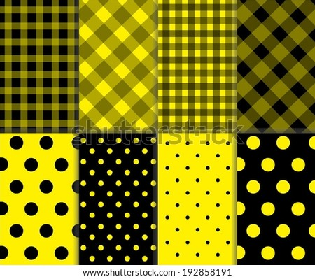 Set of Jumbo and Small Polka Dots and Diagonal Stripes Patterns in yellow and black color. Seamless Pattern Swatches made with Global Colors. Vector art background illustration
