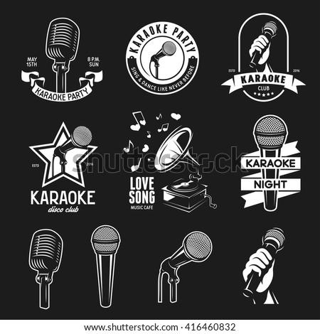Set of karaoke related vintage labels, badges and design elements. Karaoke club emblems. Microphones isolated on white background. Vector illustration.