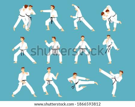 Set of Karate men doing some karate move. Vector llustration Karate cartoon set Foto stock ©