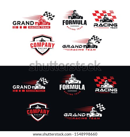 Set of Karting race symbol logo,emblem template vector image . Go kart logo Vector . Kart driver sport logo icon.Man drive kart in helmet background design Zdjęcia stock ©