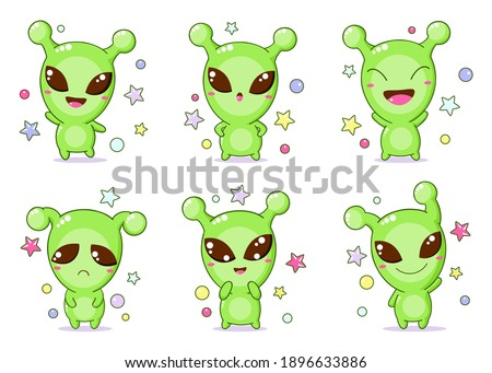 Set of kawaii aliens. Collection of little alien expressing different emotions. Cute humanoid characters. Vector illustration EPS 8