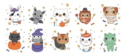 Set of kawaii animals in different Halloween costumes. Cartoon characters. Funny stickers for kids. Vector illustration.