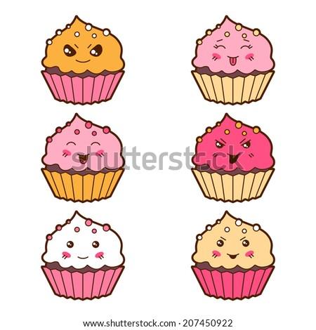set of kawaii cupcakess with