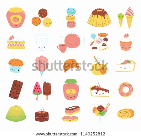 Set of kawaii funny sweet food doodle icons with cake, cookies, ice cream, candy, jam, macarons. Isolated objects. Hand drawn vector illustration. Line drawing. Design concept dessert, kids print.
